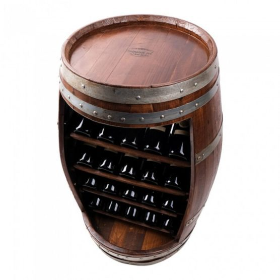 Vintøndereol i kastanjetræ med hylder og plads til 20 vinflasker